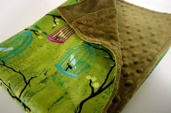 SALE-----The BIRD CAGE Chocolate Minky Blanket