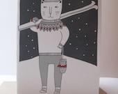 skiing cat card