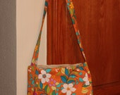 Orange Flower Power Crossbody Tote