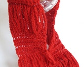 Crochet Scarf  Pattern - Chains - Red