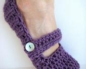 Women's Mary Jane Crochet Slippers, Slipper Socks, House Shoes - Lilac Purple Size 6-8