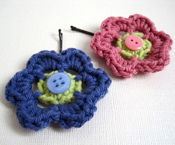 Crochet Hair Using Bobby Pin : Crochet Flower Hairpins, Hair Accessories, Bobby Pins - Iris and Rose