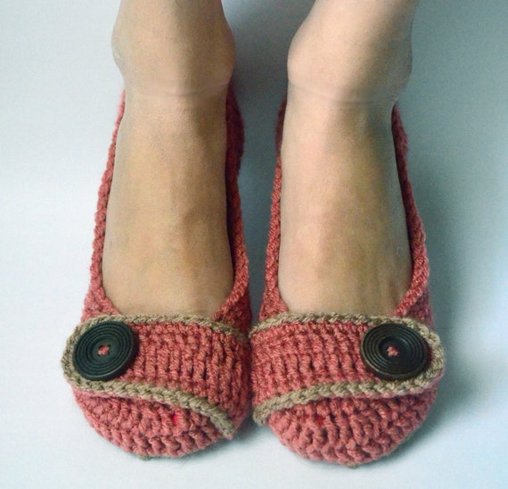 Crochet Womens Slippers, Flats, House Shoes - Country Rose - Made to Order