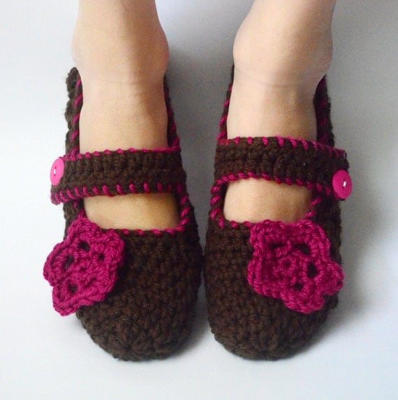 Crochet Slippers Womens Mary Janes House Shoes Socks with Flower in Fucshia Romance (Size 7-10)