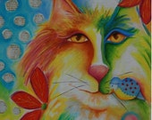 Fevrier Chat original mixed media acrylic abstract cat painting