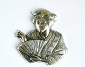 1 Antique Silver Asian Woman Stamping