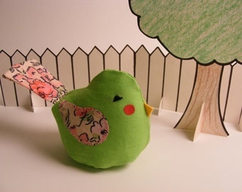 """Plush Bird with Tail - Lime """"Blushing Bean Bird"""" with pink floral wings"""
