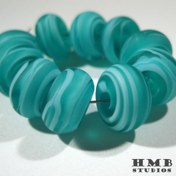 Small Handmade Lampwork Spacers - Light Blue on Teal