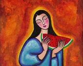 Maria de las Sandias painting 8x8 inches