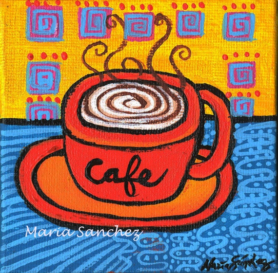 Cafe original painting by Maria Sanchez 4x4 inches coffee cup orange blue