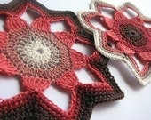 SALE Crochet Coasters, chocolate brown cherry red, graduated colour, cotton mat pair duo set, mug mat, doily, made in Cornwall UK