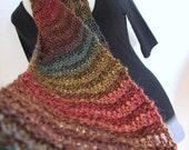 Hand Knitted Scarf - long drop-stitch lacy design - rainbow multicolor wool blend yarn