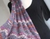 Bamboo lace scarf, long crocheted zigzag ripple wave design, grey gray purple silver tawny, Taurus
