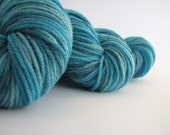 DK merino wool, light worsted yarn, 100grams, crochet double knitting, Perran Yarns, Deep, hand-dyed turquoise blue teal, UK