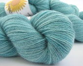 Laceweight cashmere yarn, hand-dyed, 100% pure, 50grams, 437 yards, knitting crochet wool, Perran Yarns, Cool Topaz, turquoise mint blue