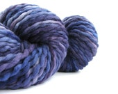 Chunky merino yarn, hand dyed bulky knitting crochet wool, 100grams, Perran Yarns, Midnight Blues, navy purple, Monaco Blue