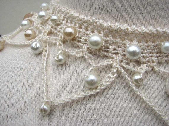 Crochet Choker Necklace Ivory Silk Yarn And Glass Pearl