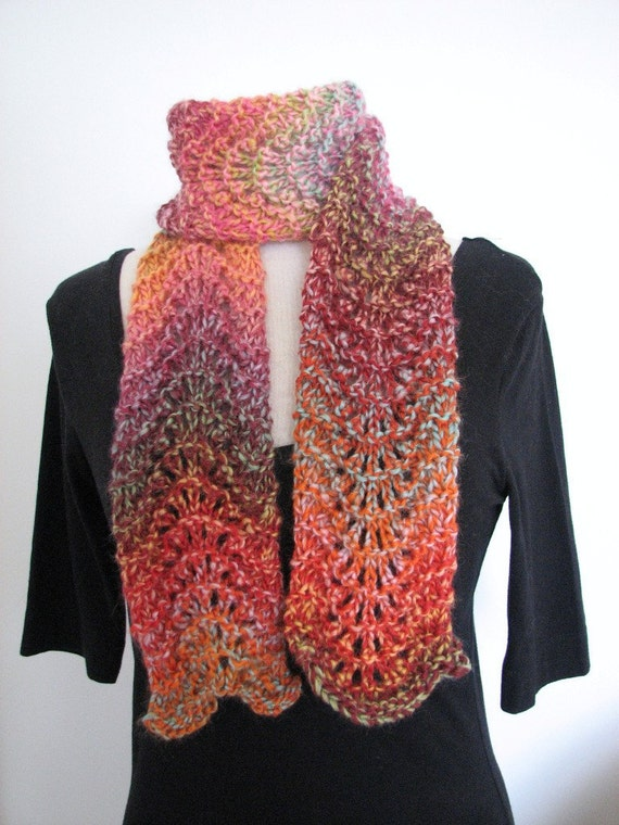 Scarf Knitting Patterns Instructions : Bulky scarf knitting pattern pdf chunky ripple lace easy