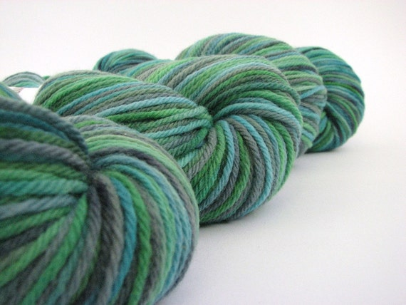 Hand-dyed DK merino wool, light worsted yarn, 100grams double knitting, Perran Yarns, Woodland Glade, green, blue, turquoise