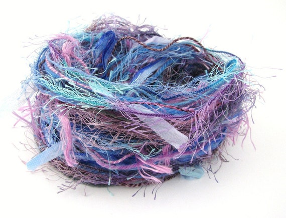 Inspiration Pack of assorted cut yarn lengths, Hydrangea Hues, 10 yarns each 3 metres, turquoise blue lilac purple, craft supplies, trim