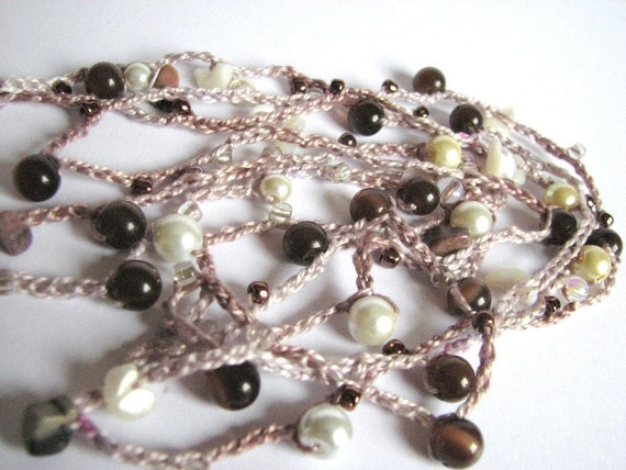 Beaded crocheted necklace or wrap bracelet, glass beads, mother of pearl chips, Coffee and Cream, brown ivory
