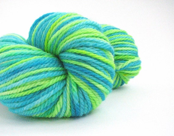Aran superwash merino wool, hand-dyed worsted 10 ply, knitting crochet, Perran Yarn, Electric Ocean short stripe, lime green turquoise blue