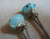 2 Light Turquoise Glass Bead Bobby Pins