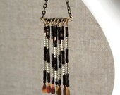 chevron beaded necklace in arrow metallic bronze fringe for fall fashion