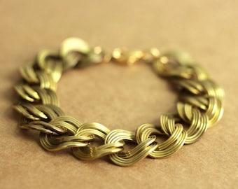 chunky chain bracelet in vintage brass