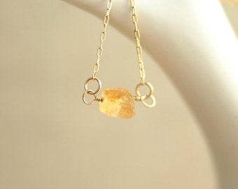 citrine necklace on 14kt gold fill chain for minimal spring fashion mothers day