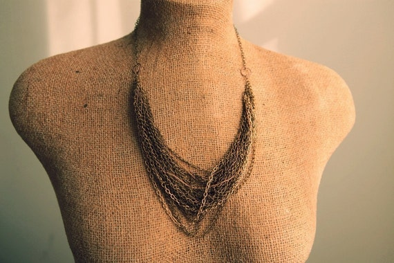 SALE layered bib necklace with multi chains in gold bronze steel