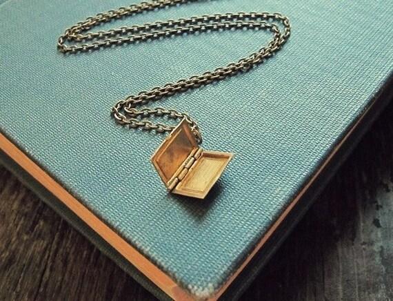 book locket necklace in vintage brass