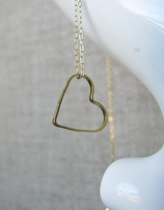 heart necklace on 14k gold filled chain with vintage brass charm