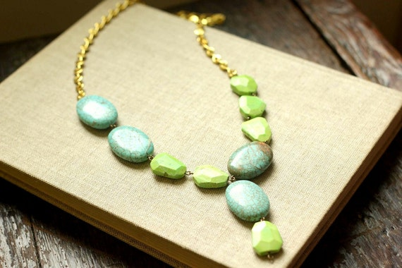 SALE turquoise statement necklace for spring fashion in lime and blue