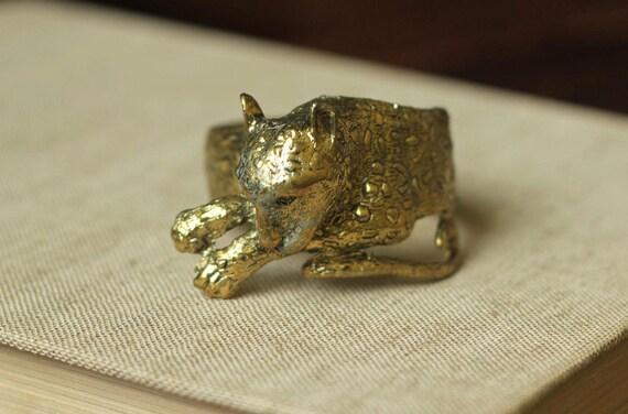 leopard bracelet in vintage brass statement jewelry