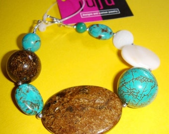 CLEARANCE - THROUGH the STORM beaded bracelet made with semi-precious stones, shells. Sterling silver. Funky gemstone turquoise bracelet.
