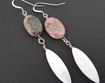 CLEARANCE - CUPID'S ARROW earrings made with semi-precious stones and mother of pearl shells.  Sterling silver parts.  Funky drop earrings.