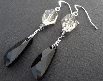 DARK ANGEL Black and Grey Swarovski Crystal Bridesmaid Earrings.  Wedding Jewelry.  Drop Earrings. Black and grey bridal jewelry.