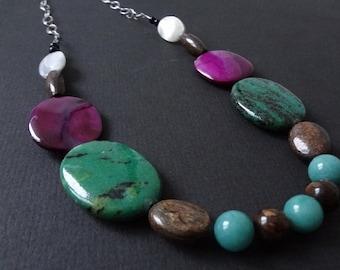 GARDEN VARIETY malachite, bronzite, aventurine and shell necklace.  Gemstone and shell necklace.  Sterling silver chain.