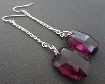 MAUVE MATTERS Purple Swarovski Crystal Bridesmaid Earrings.  Drop Earrings.  Purple wedding jewelry.  Vintage Style.  Bridesmaid Jewelry.