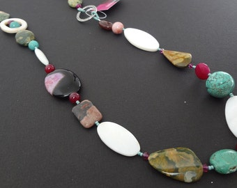 CLEARANCE - KISS and TELL beaded handmade necklace made with semi-precious stones, swarovski crystals, shells and all sterling silver parts