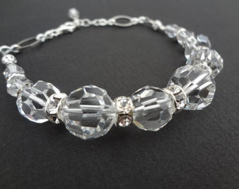 CRYSTAL CLEAR handmade beaded bracelet made with swarovski crystals and all sterling silver parts
