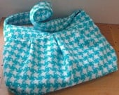 Pleated Wool Purse Turquoise and White Houndstooth