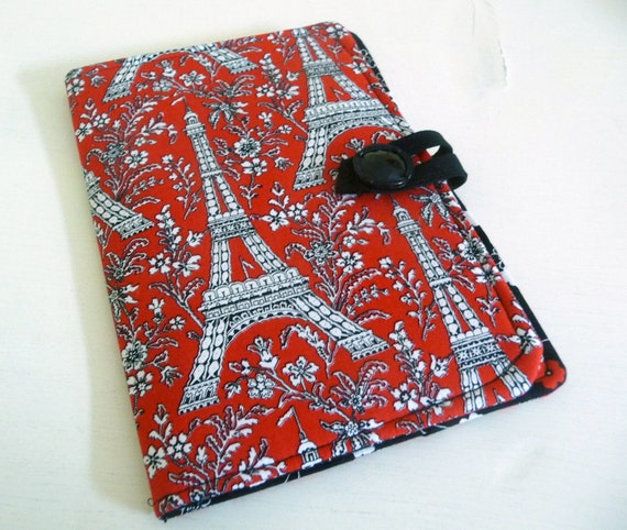 Kindle Fire Cover, Nook Cover - Red Eiffel Tower
