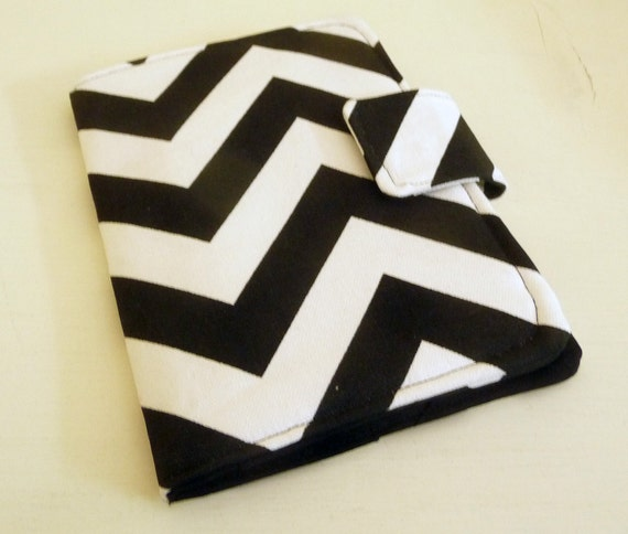 Kindle 4 Cover, Kobo Touch Cover - Black, White Chevrons