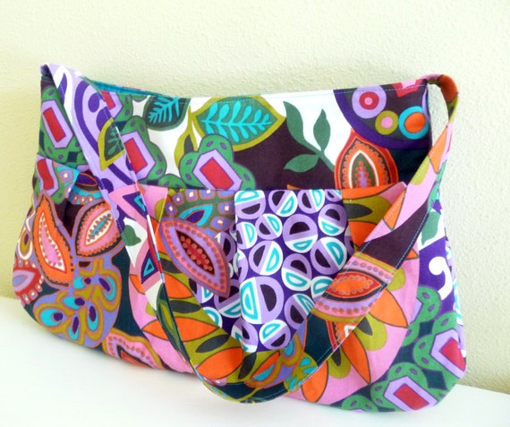 Pleated Purse, Bold Kebede Cotton Print, Zippered Closure
