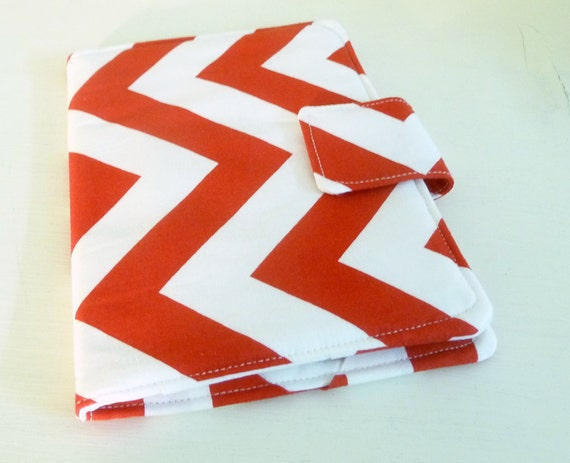 Kindle Touch Cover - Red and White Chevrons, ready to ship