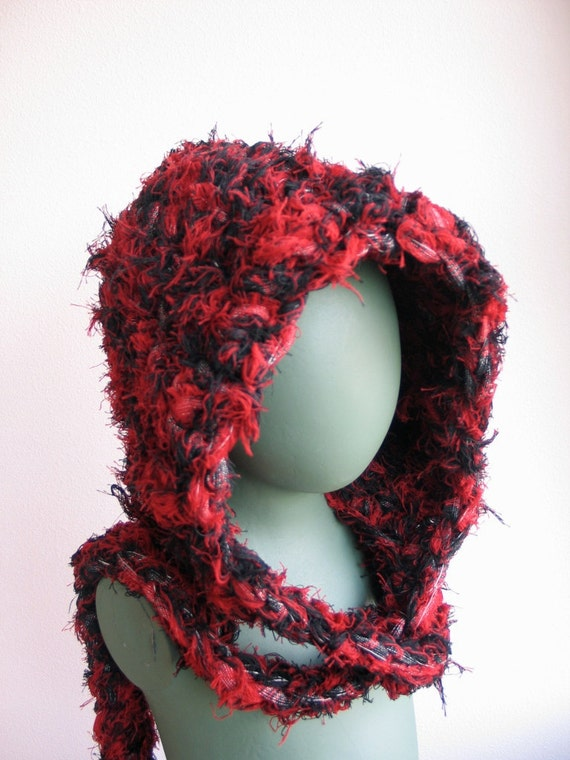 Black and Red Hat with Attached Scarf to Adorn Your Sustainable Self