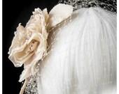 VEIL and FASCINATOR - ENGLISH TEA ROSE  - Antique Cream Small Birdcage Veil w/ Rose Fascinator