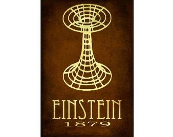12x18 Science Art Albert Einstein Print Relativity Physics Geek Chic Diagram Wormhole Space Decor Nerd Scientific Rock Star Scientist Poste